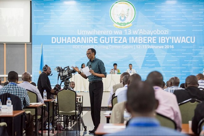 President Paul Kagame addressing the audience at the 13th National Leadership Retreat in Gabiro