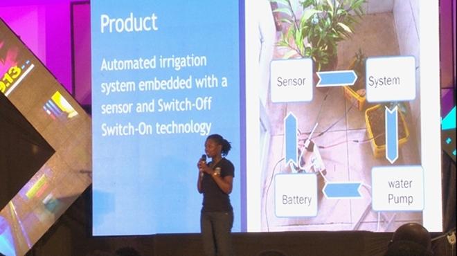 Mwiseneza presenting her automated irrigation system