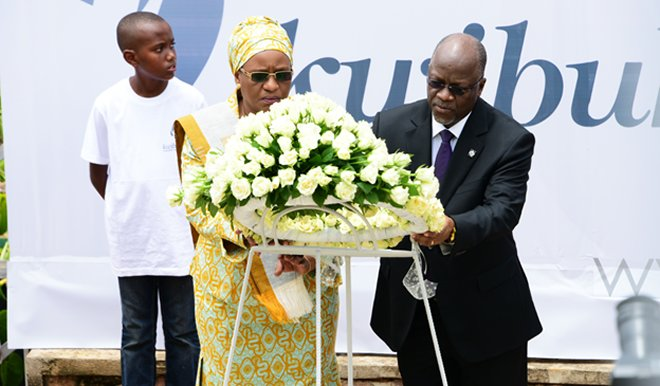 Tanzania's President Magufuli and first lady lay a wreath to honour victims of the Genocide against Tutsi