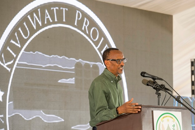 President Paul Kagame while launching KivuWatt Power Plant