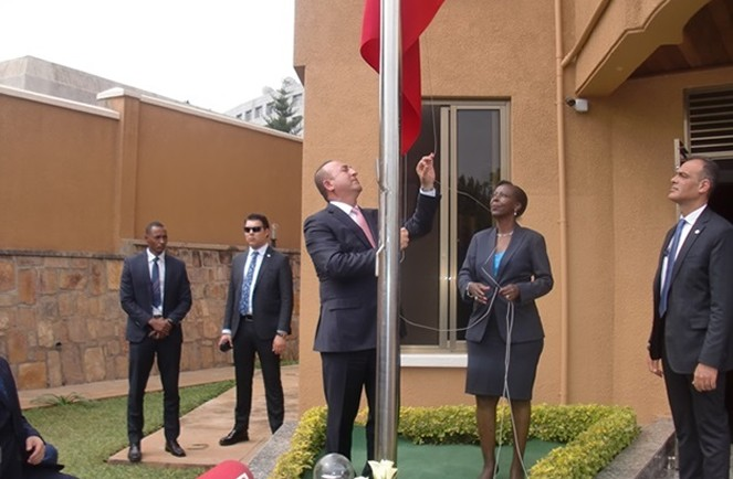 Mevlüt Çavuşoğlu the Turkish minister of foreign affairs  raises the flag at the embassy