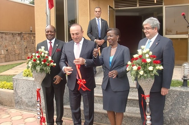 Rwanda's Foreign Affairs Minister Louise Mushikiwabo (2ndright) attends official opening of Turkish embassy in Kigali