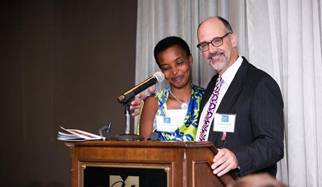 Charlotte Ingabire poses with her heart surgeon from Team Heart, Dr. Bruce Leavitt
