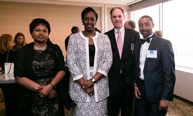 First Lady Mrs Kagame poses with Amb. Mathilde Mukantab ... am Heart co-founder Chip Bolman, and MC Parfait Gasana