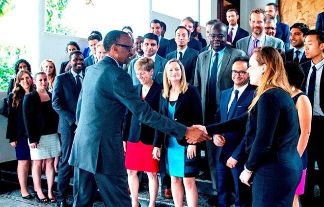 Wharton students interact with President Kagame