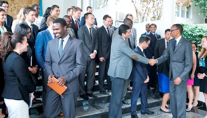 Wharton University MBA students meeting with President Paul Kagame