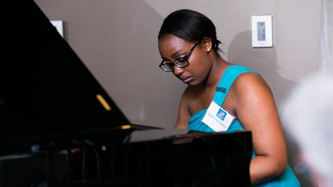Sandrine Murengerantwali, a pianist who underwent heart surgery at a young age