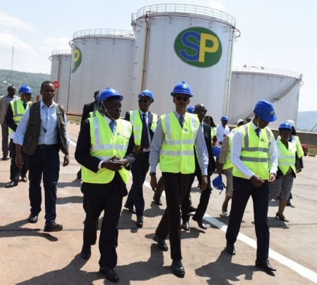 President Paul Kagame(center) on a guided tour at the new fuel depot