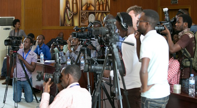 Journalists at the press conference