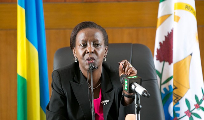 Rwanda's Minister of Foreign Affairs Louise Mushikiwabo speaking to media about preparations for the forthcoming AU summit in Kigali