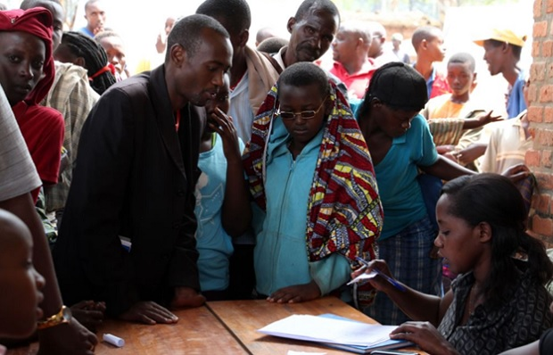 Burundi refugees being registered at a camp in Rwanda