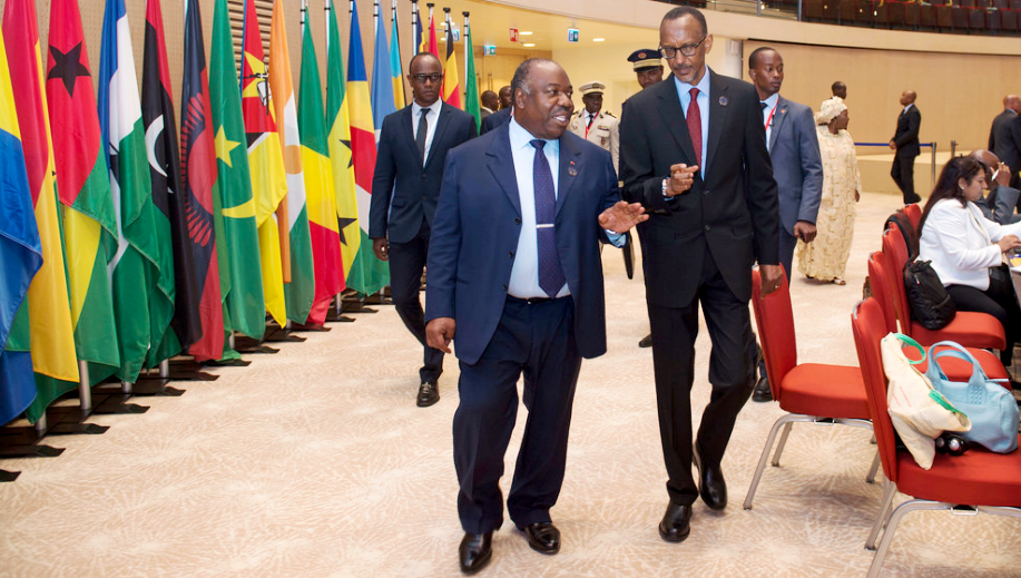 President Kagame and President Bongo chat at the 27th AU-Summit in Kigali