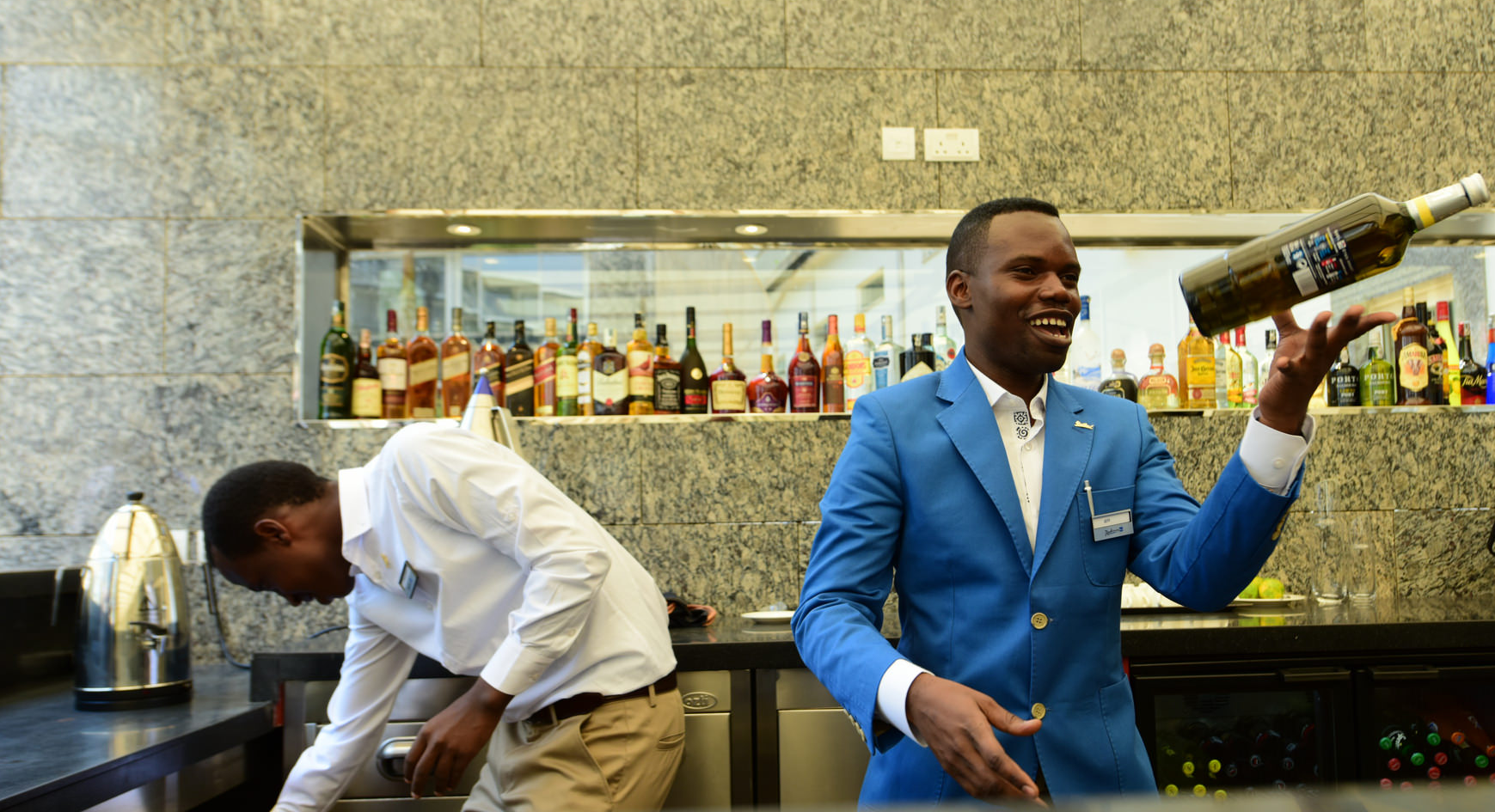 Bar attendant at the new Kigali Convention Centre