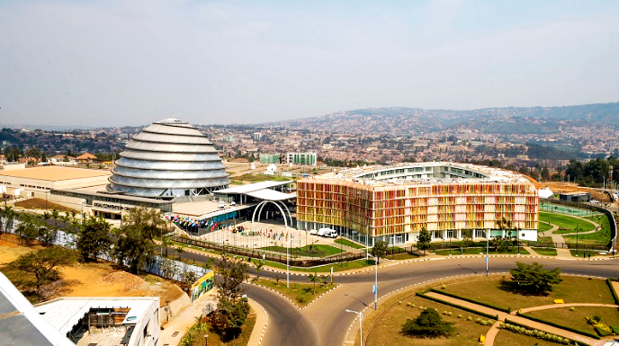 Kigali Convention Center round about is under car-free zone