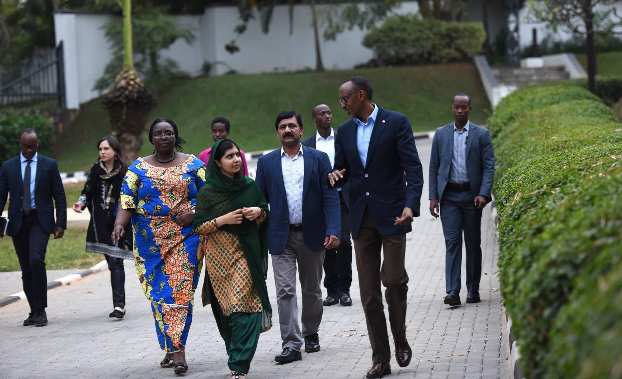 President Paul Kagame chats with Nobel laureate Malala Yousafzai after arriving in Rwanda