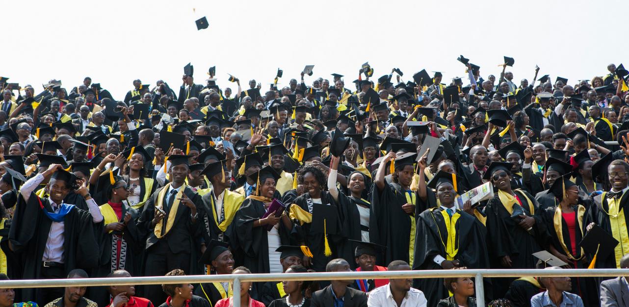 University of Rwanda students at a mass graduation
