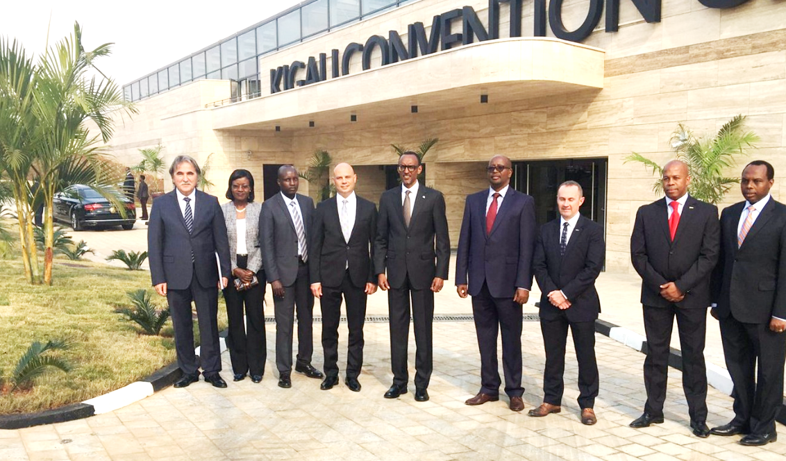 President Paul Kagame (3rd right) outside the Kigali Convention Centre