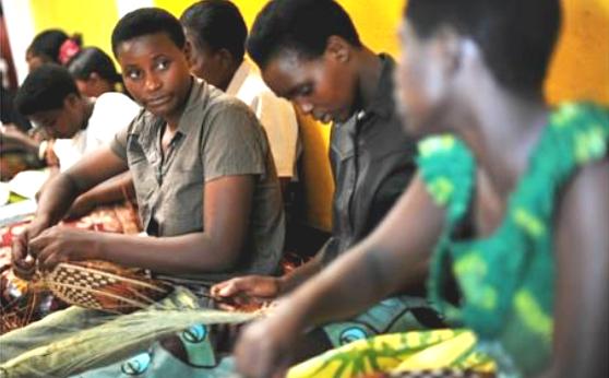 Rwandan women weaving baskets