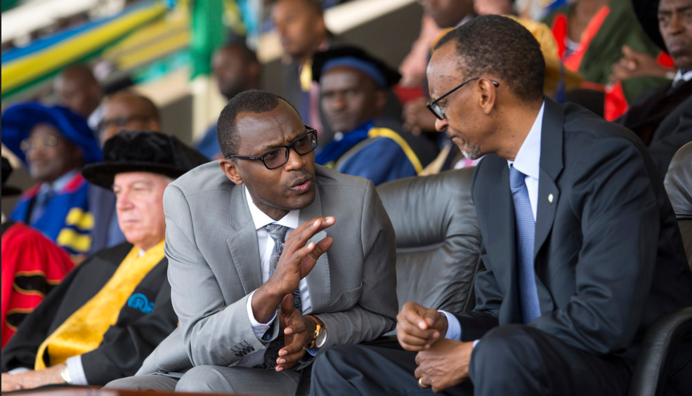 President Kagame consulting with Education minister Dr Papias Malimba Musafiri
