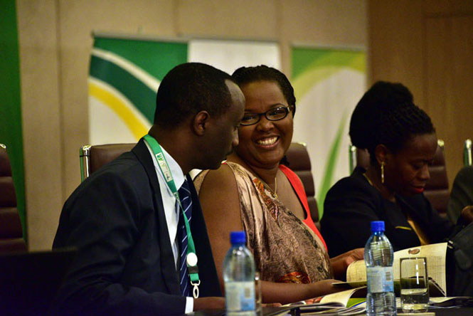 BRD boss Alex Kanyankore chats with Agriculture min Mukeshimana at AFRACA summit