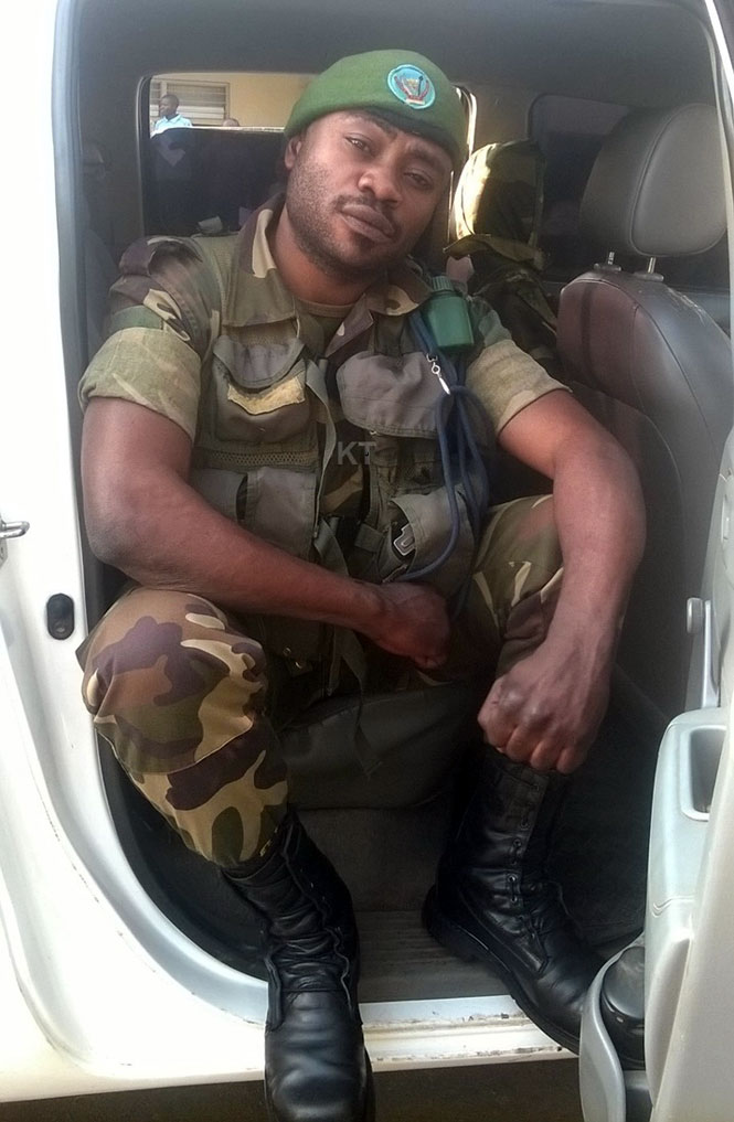 Cpl Mambuve Nevo reluctant to leave RDF car that brought him to the border