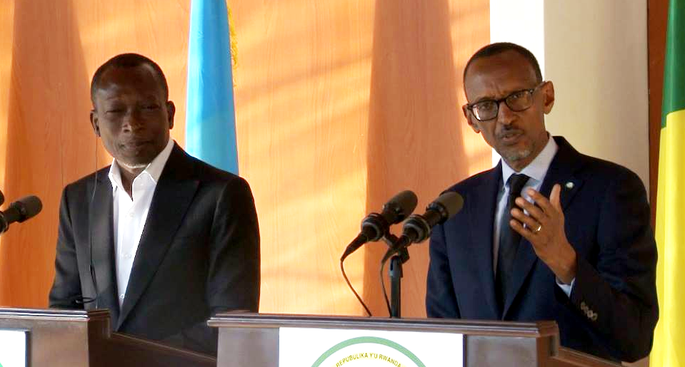 President Paul Kagame of Rwanda and President Patrice Talon of Benin during a joint press conference