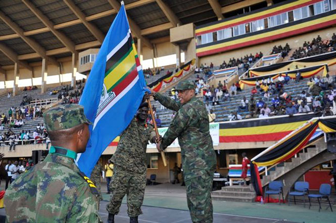 RDF Chief of Defence Staff Gen Patrick Nyamvumba congratulates Rwandan players at EAC Military Games Crowning ceremony in Kampala, Uganda, last year