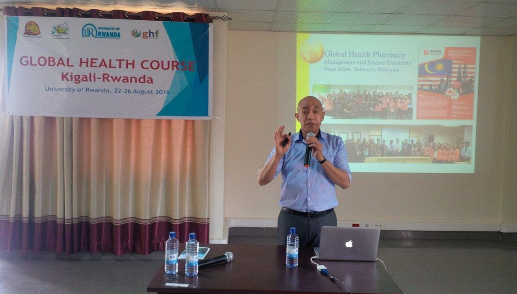 A pharmacist lectures during the pharmacy professionals gathering in Kigali