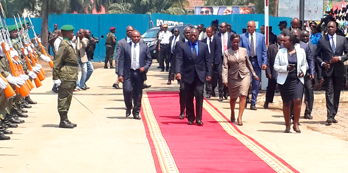 DRC President on Red-carpet after arrival in Rwanda's Rubavu border city.