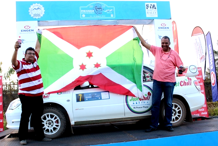 Burundi's Bukera Valery (r) celebrates after winning Rwanda Mountain gorilla rally