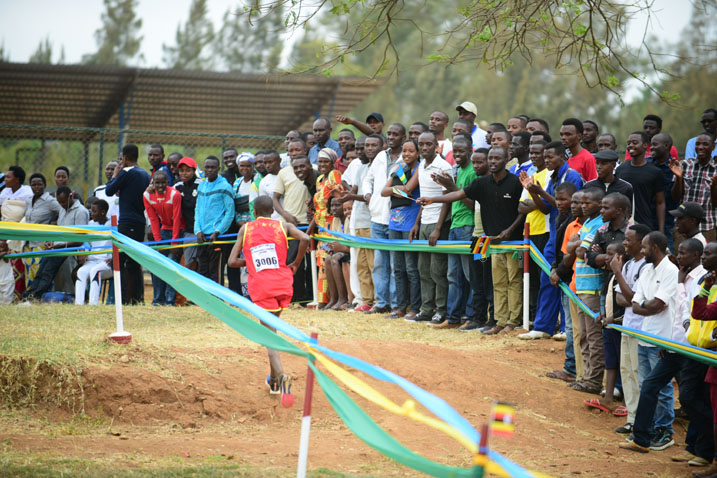 Fans cheering an athlete at the East African Military Games and Cultural Event