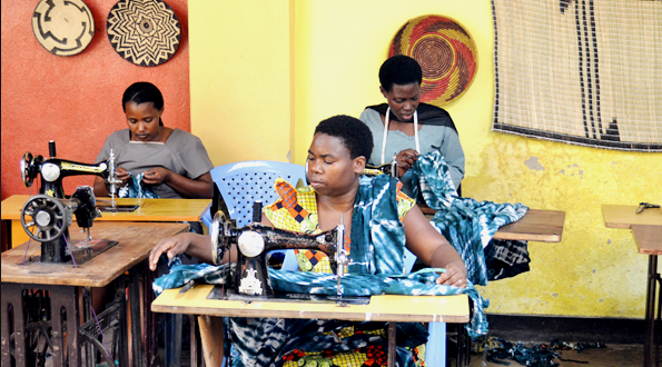 Rwandan women tailors busy at their workshop