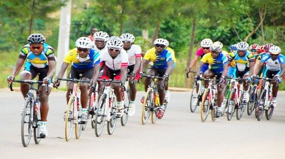 Rwandan cyclist leading in a local competition