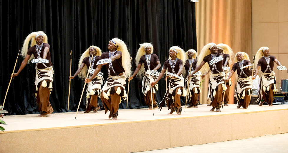 Rwandan traditional dancers during a performance