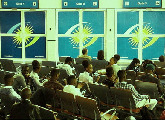 Passengers waiting for connecting flights at Kigali International airport