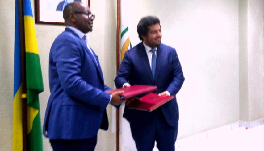 James Musoni, Minister of Infrastructure and Mota Manuel the CEO of Mota-Engil, Engenharia e Construção África, S.A.