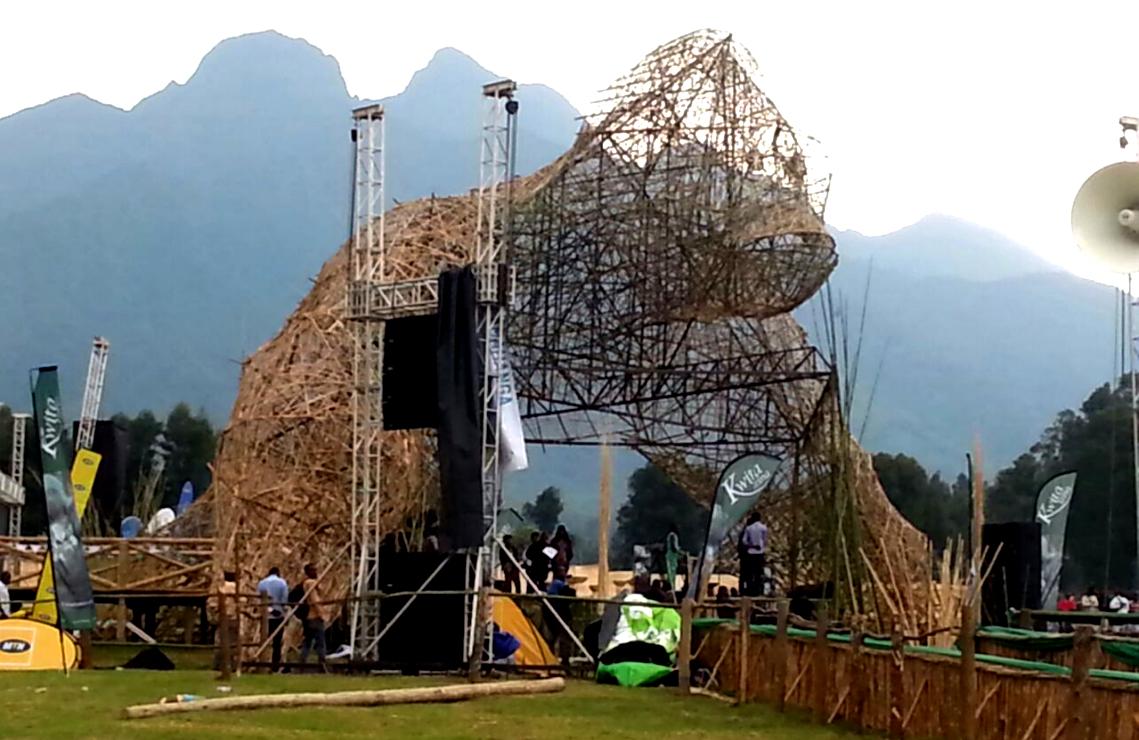 Kwita-Izina stage design depicts a mountain gorilla