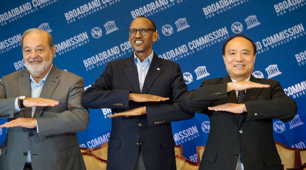 President Paul Kagame(c) During a UN Broadband Commission Meeting in New York