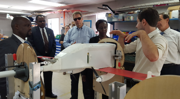 Rwanda delegation getting an orientation on the functionalities of the drone