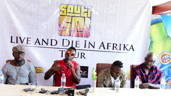 Sauti Sol band members speaking to Journalists on arrival in Kigali