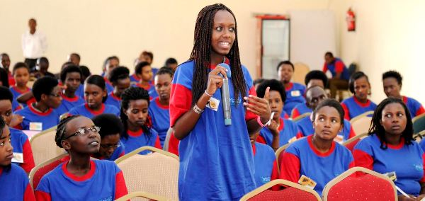Rwandan girls attending a workshop to get motivation and inspirations