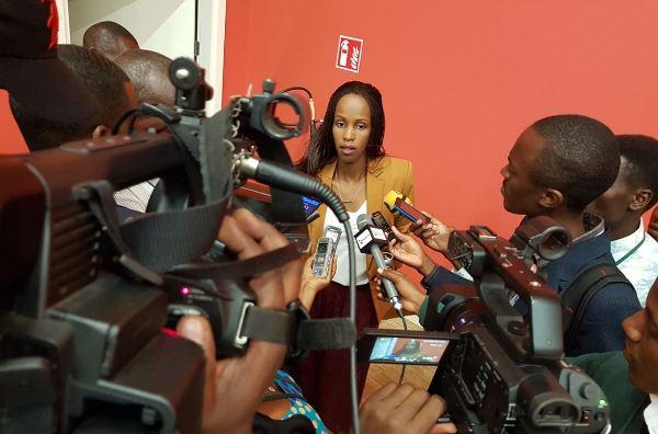 Belise Kariza the Chief Tourism Officer at Rwanda Development Board (RDB) speaks to Journalists
