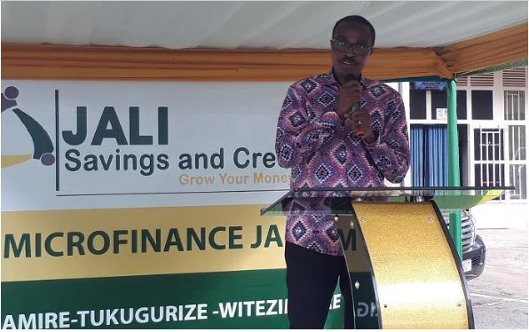 MInister Albert Murasira speaking at the launch of Jali Microfinance
