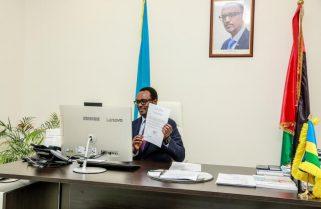 Amb. Hategeka Presents a Copy Of  Credentials to Represent Rwanda In Bahrain
