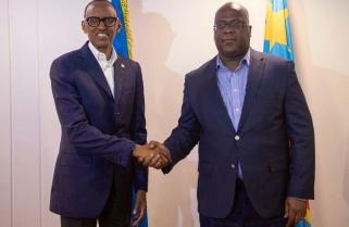 President Tshisekedi Meets Kagame Upon Arrival in Rwanda