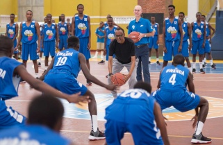 Kagame Tips Young Basketball Players on Becoming Giants of Africa